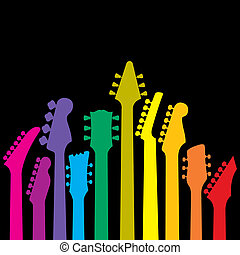 A vector background with a rainbow of Guitar headstocks