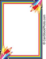 Fun and colorful rainbow pencil border.