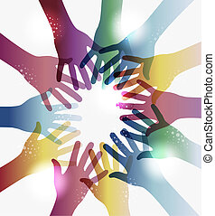 Diversity transparent hands circle isolated over white. EPS 10 vector illustration, cleanly built grouped and ordered in layers for easy editing.
