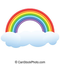 Volume rainbow on a cloud. A composition on a white background.