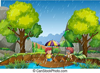 Rainy day with girl and boy in the park
