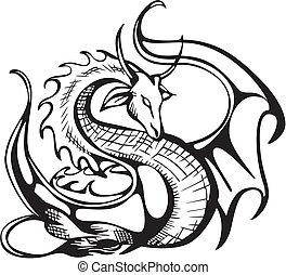 Raising dragon. Black and white vector illustration