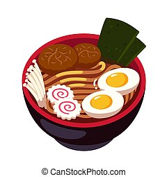Ramen noodle soup bowl with enoki mushrooms, Naruto spiral fish cake and egg. Traditional Japanese cuisine dish. Cartoon vector illustration.