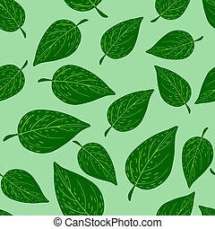 Random bright green leaves seamless ornament in doodle style. Pastel background.