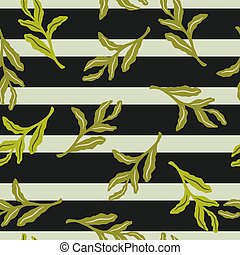 Random green doodle leaves seamless pattern. Tropical shapes on dark striped background.