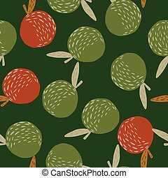 Random seamless abstract pattern with organic apple print. Green and red fruit shapes on dark green background.