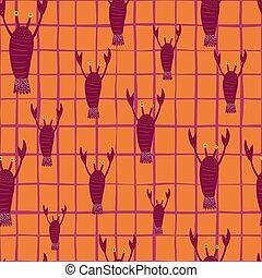Random seamless doodle pattern with dark pink lobster ornament. Orange bright chequered background.