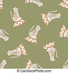 Random seamless doodle pattern with light tiger silhouettes ornament. Green olive background.
