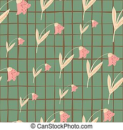 Random seamless doodle pattern with pink colored campanula flowers. Green chequered background.