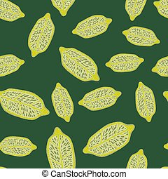 Random seamless doodle pattern with yellow lemons ornament. Green background.