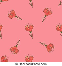 Random seamless pattern in minimalistic style with red flowers on pink background.