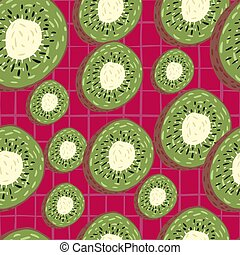 Random seamless pattern with green kiwi slices ornament. Bright red chequered background. Simple food backdrop.
