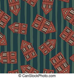 Random seamless pattern with maroon simple house silhouettes. Dark green striped background.