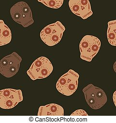 Random seamless pattern with mexican decor skull shapes. Brown background. Day of death print.