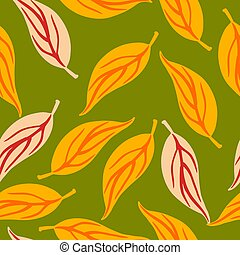 Random seamless pattern with pink and orange contoured foliage ornament. Green background.