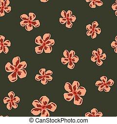 Random seamless pattern with pink daisy flower ornament. Dark green pale background. Botanic artwork.