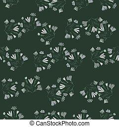 Random seamless pattern with simple daisy flower bouquet ornament. Dark tones nature print.