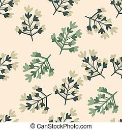 Random seamless spring pattern with branches. Floral shapes in green and dark blue tones on light pastel background.