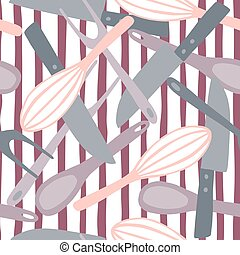 Random stylized cooking seamless pattern with knife, spoon, fork, corolla doodle silhouettes. Pastel tones kitchen equipment artwotk on striped background.