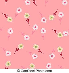 Random summer seamless pattern with cute chrysanthemum flowers ornament. Pink background.