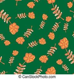 Random summer seamless pattern with orange flowers ornament. Green background.