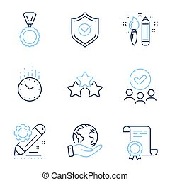 Ranking stars, Project edit and Approved shield icons set. Creativity, Time and Medal signs. Vector
