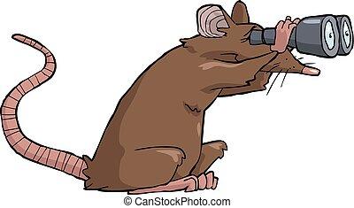Cartoon rat looking through binoculars vector illustration