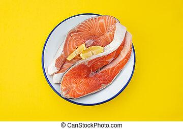 raw fresh salmon trout and salmon on dish