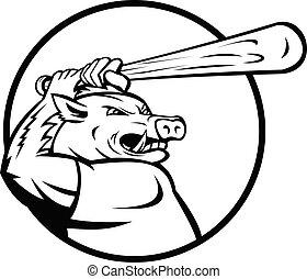 Razorback Wild Boar or Hog with Baseball Bat Batting Circle Mascot Black and White