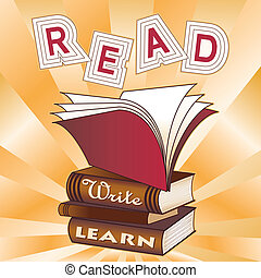 Read, Write, Learn! Stack of books, ray pattern background, for education, back to school, literacy projects, scrapbooks. EPS8 compatible.