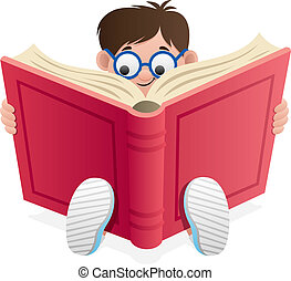 Little Boy, reading book over white background. No transparency used. Basic (linear) gradients.