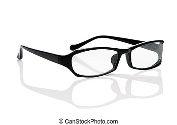 Reading optical glasses isolated on the white