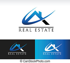 Real estate icon with roof and swoosh graphic element.