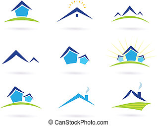 Collection of green and blue real estate icons. Vector format.