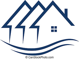 Real estate houses logo in blue color