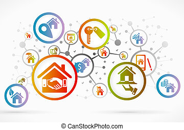 Real estate icon set vector abstract background
