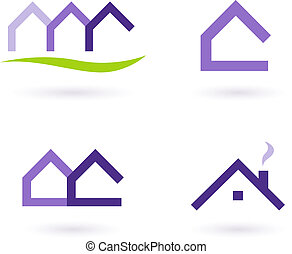 Real Estate Icons - Purple, green
