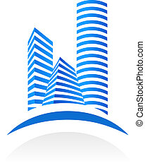 Blue vector real estate symbol on white background