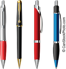 Realistic ballpoint pen set in different colors and styles isolated on white
