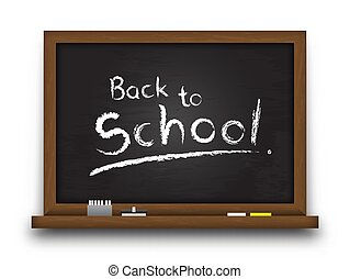 Realistic black color chalkboard with wooden frame . Detailed texture on blackboard and edge . Empty board for fill your text . Isolated background . Education and back to school concept . Vector .
