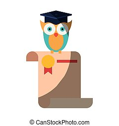 realistic colorful shading image of owl knowledge in certificate