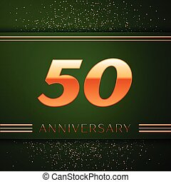 Realistic Fifty Years Anniversary Celebration Logotype. Golden numbers and golden confetti on green background. Colorful Vector template elements for your birthday party