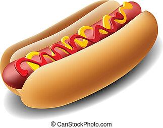 Realistic hot dog with ketchup and mustard
