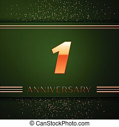 Realistic One Years Anniversary Celebration Logotype. Golden numbers and golden confetti on green background. Colorful Vector template elements for your birthday party