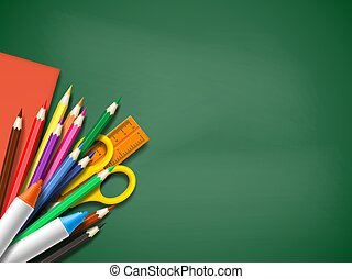 Realistic school supplies on blackboard background. Back to school template with place for text, vector illustration.