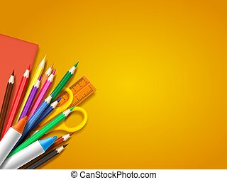 Realistic school supplies on yellow background. Back to school template with place for text, vector illustration.