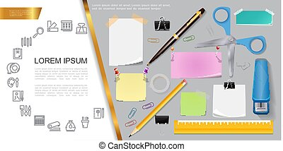 Realistic Stationery Composition