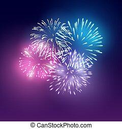 Realistic Vector Fireworks Display Set