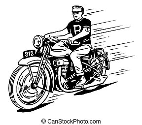 Illustration of rebel on vintage classic motorcycle