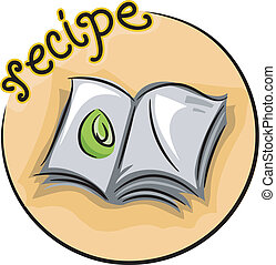 Illustration of an Open Recipe Book